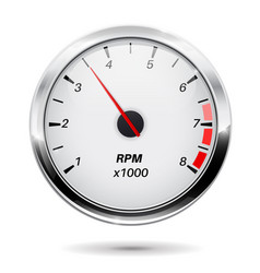 tachometer round gauge with chrome frame vector image vector image