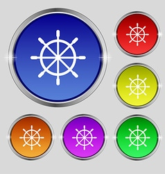 Ship steering wheel icon sign round symbol on vector