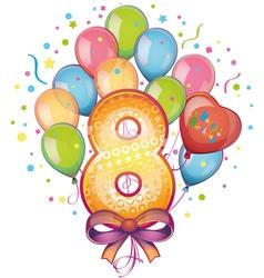 Happy birthday eight vector