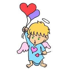 Cartoon cupid with love balloon vector