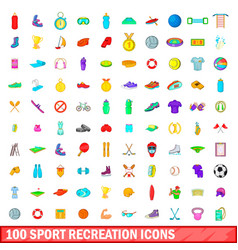 100 sport recreation icons set cartoon style vector