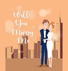 Couple character on wedding day vector
