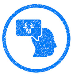 Cow thinking person rounded grainy icon vector