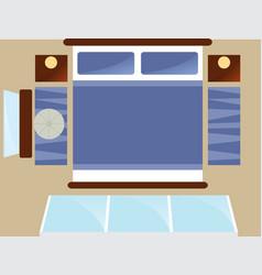 Top view bedroom interior with window vector