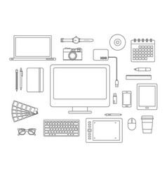 Graphic designer items and tools line icon set vector