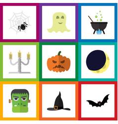 Flat icon halloween set of spirit spinner vector