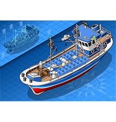 Isometric fishing boat isolated in front view vector