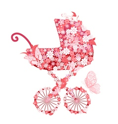 Stroller of flowers for girls vector