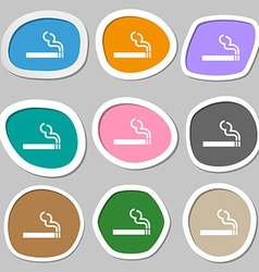 Cigarette smoke icon symbols multicolored paper vector
