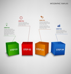Info graphic with colorful 3d cubes template vector