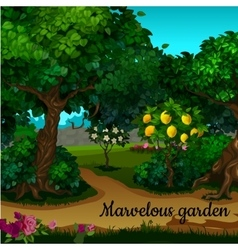 The garden with citrus tree and green trees vector