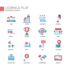 Set of modern business office flat design icons vector