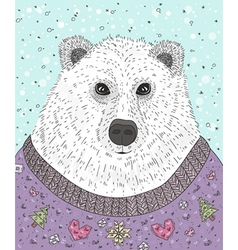 Cute hipster polar bear with christmas sweater vector image