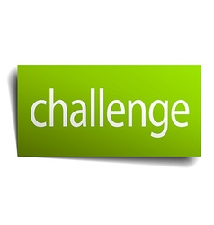 Challenge green paper sign on white background vector
