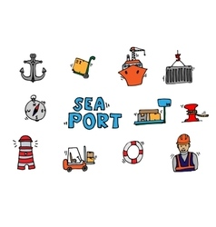 Sea port colorful icons set vector