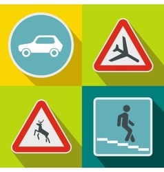 Road sign banners set flat style vector