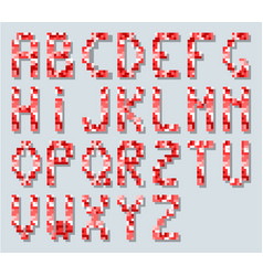 alphabet in style pixel retro vintage red simple vector image