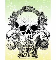 ancient grunge skull illustration vector image vector image