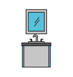 Bathroom interior mirror with sink vanity cabinet vector