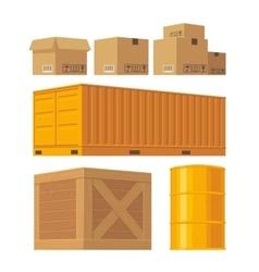 Brown carton packaging box pallet yellow vector image