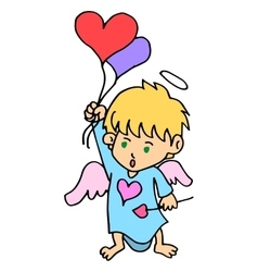 Cartoon cupid with love balloon vector