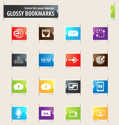 Communication bookmark icons vector