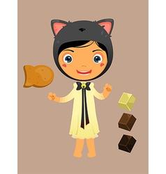 cute girl cat vector image