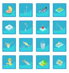 Fishing icon blue app vector
