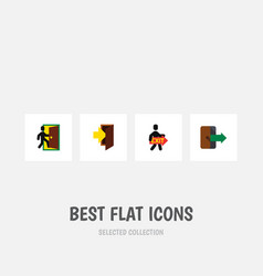 flat icon emergency set of entry directional vector image vector image
