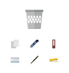 Flat icon tool set of nib pen date block vector