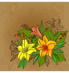 flower background lily and mine vector image