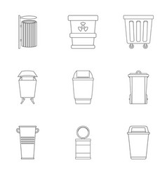 Garbage can icon set outline style vector