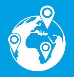 globe of network icon white vector image