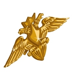Golden emblem with sword and double-headed eagle vector