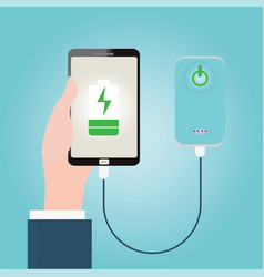 human hand holding smartphone charging connect to vector image