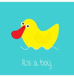 Its a boy baby shower card with funny yellow duck vector