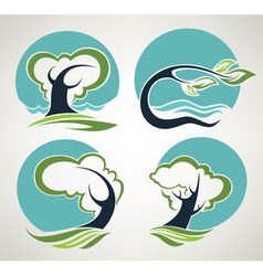 landscape symbols in folklore style vector image