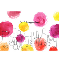 Layout with nail polish accessories vector