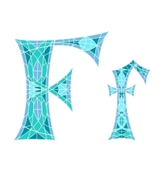 Low poly letter f in blue mosaic polygon vector