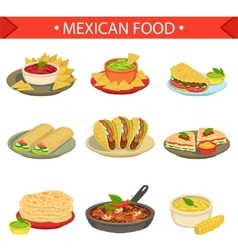 Mexican Food Signature Dishes Set vector image vector image