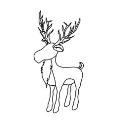 Monochrome contour of reindeer with big horns vector