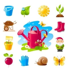 Nature gardening icon set with farm and vector image