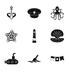 naval icons set simple style vector image