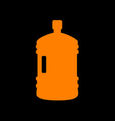 Plastic bottle silhouette sign orange icon on vector