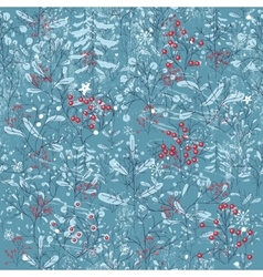 Seamless vintage blue pattern with winter forest vector