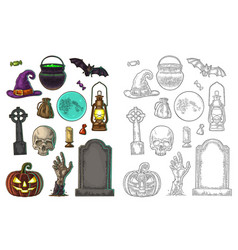 Set for halloween party color vintage vector