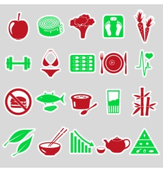 Set of diet and healthy life style theme stickers vector