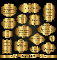 Set of golden labels in retro style vector