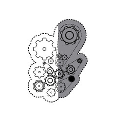Sticker silhouette set gear wheel icons vector