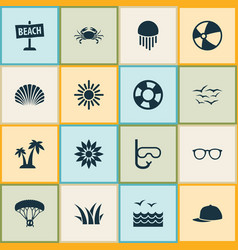 Sun icons set with spectacles board skydiving vector